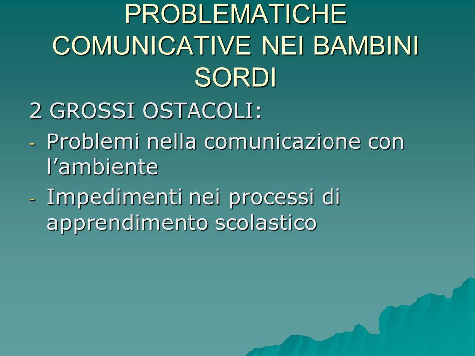 PROBLEMATICHE COMUNICATIVE NEI BAMBINI SORDI