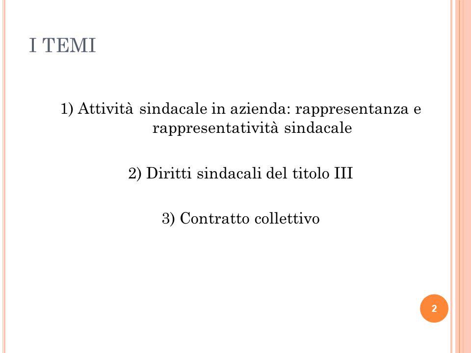 I TEMI 1) Attività sindacale in azienda: rappresentanza e rappresentatività sindacale. 2) Diritti sindacali del titolo III.