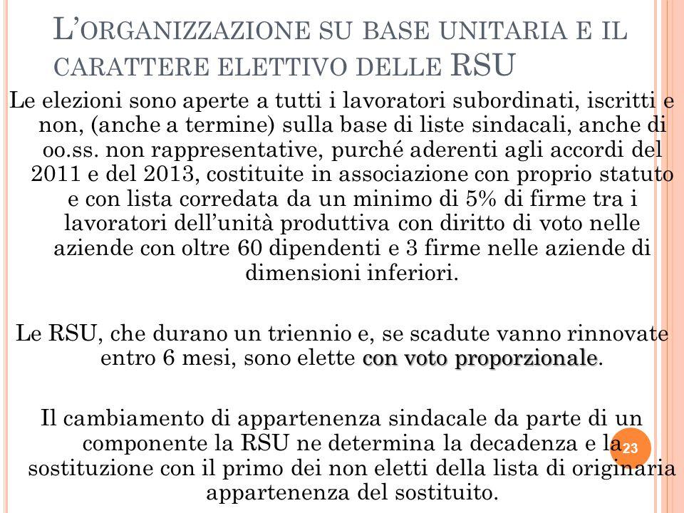 L'organizzazione su base unitaria e il carattere elettivo delle RSU
