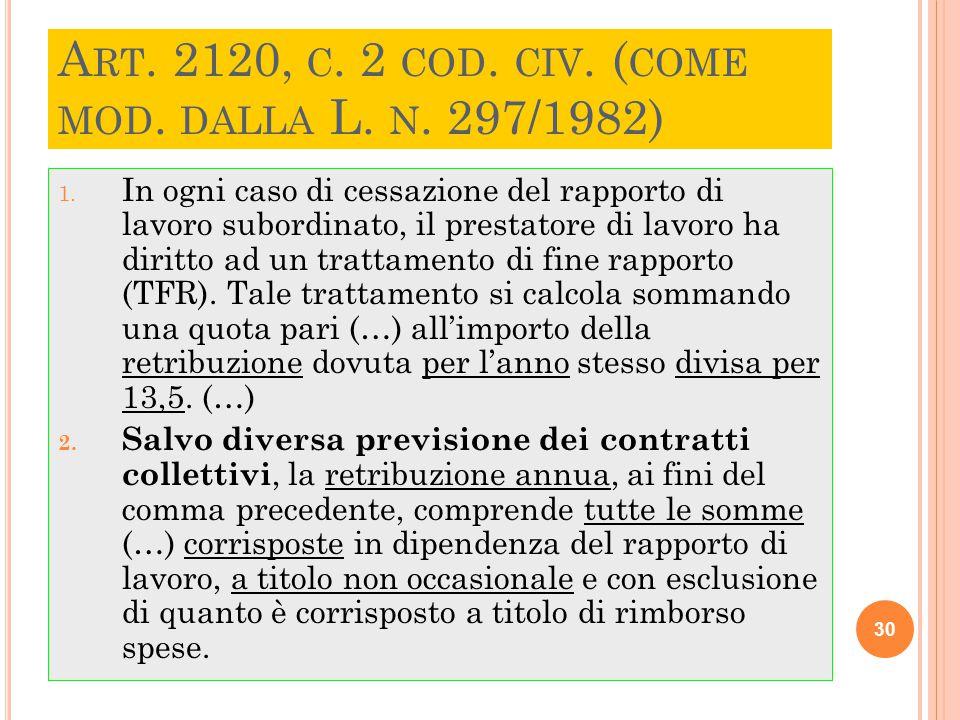 Art. 2120, c. 2 cod. civ. (come mod. dalla L. n. 297/1982)