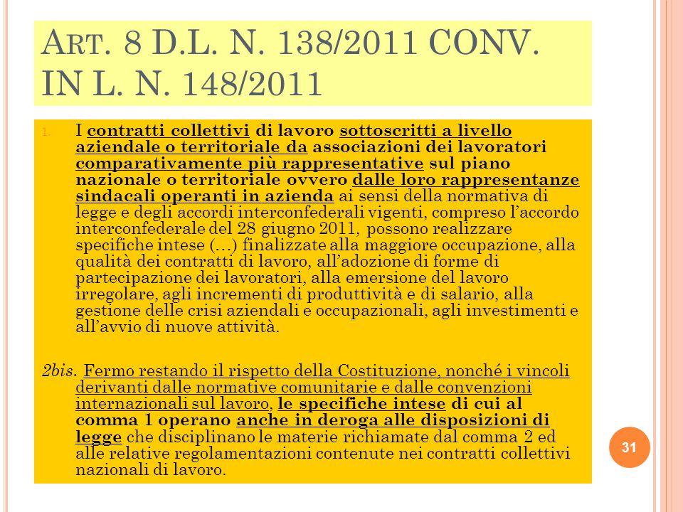 Art. 8 D.L. N. 138/2011 CONV. IN L. N. 148/2011