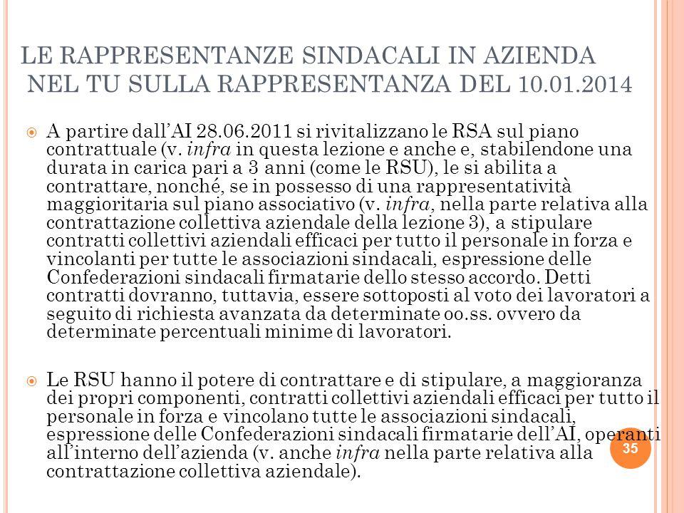 LE RAPPRESENTANZE SINDACALI IN AZIENDA NEL TU SULLA RAPPRESENTANZA DEL 10.01.2014