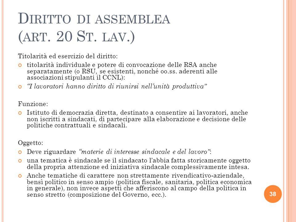 Diritto di assemblea (art. 20 St. lav.)