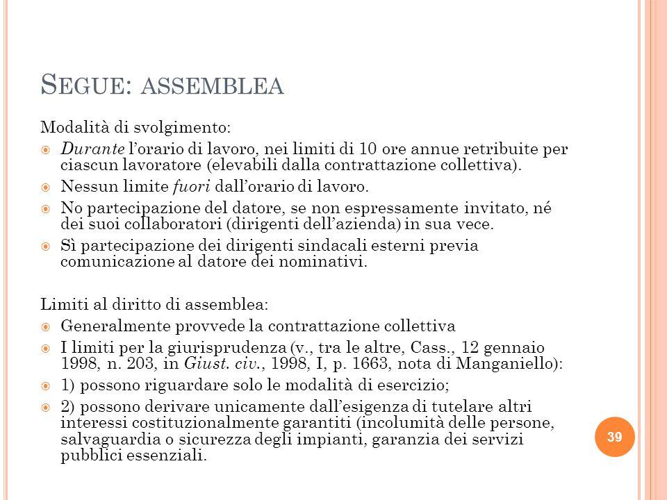 Segue: assemblea Modalità di svolgimento: