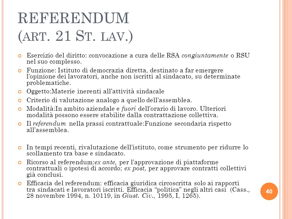 REFERENDUM (art. 21 St. lav.)