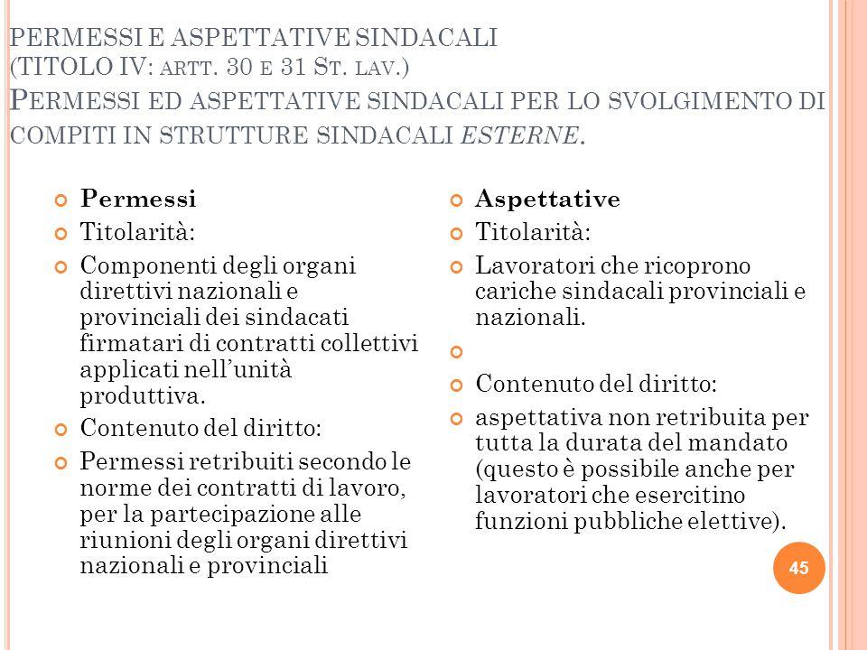 PERMESSI E ASPETTATIVE SINDACALI (TITOLO IV: artt. 30 e 31 St. lav