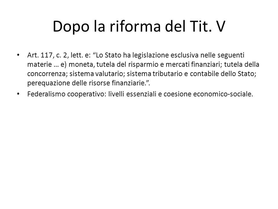 Dopo la riforma del Tit. V