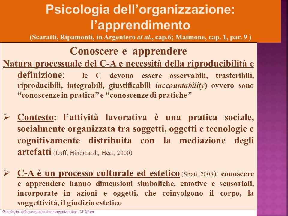 Psicologia dell'organizzazione: Conoscere e apprendere