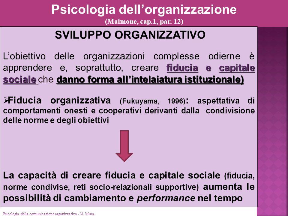 Psicologia dell'organizzazione SVILUPPO ORGANIZZATIVO