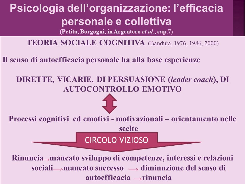 Psicologia dell'organizzazione: l'efficacia personale e collettiva