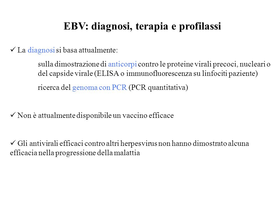 EBV: diagnosi, terapia e profilassi