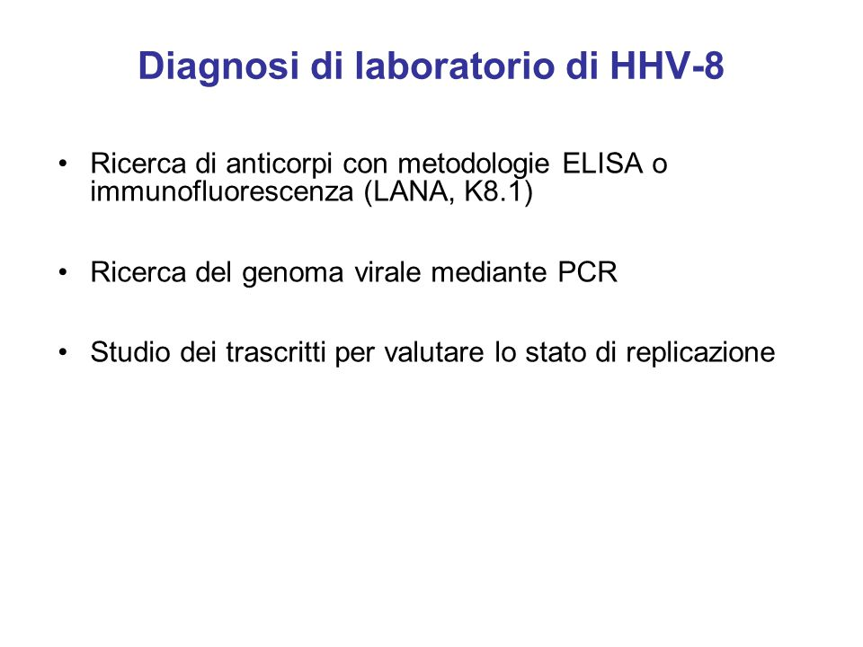 Diagnosi di laboratorio di HHV-8