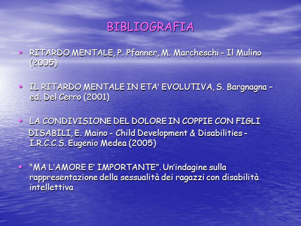 BIBLIOGRAFIA RITARDO MENTALE, P. Pfanner, M. Marcheschi - Il Mulino (2005) IL RITARDO MENTALE IN ETA' EVOLUTIVA, S. Bargnagna – ed. Del Cerro (2001)