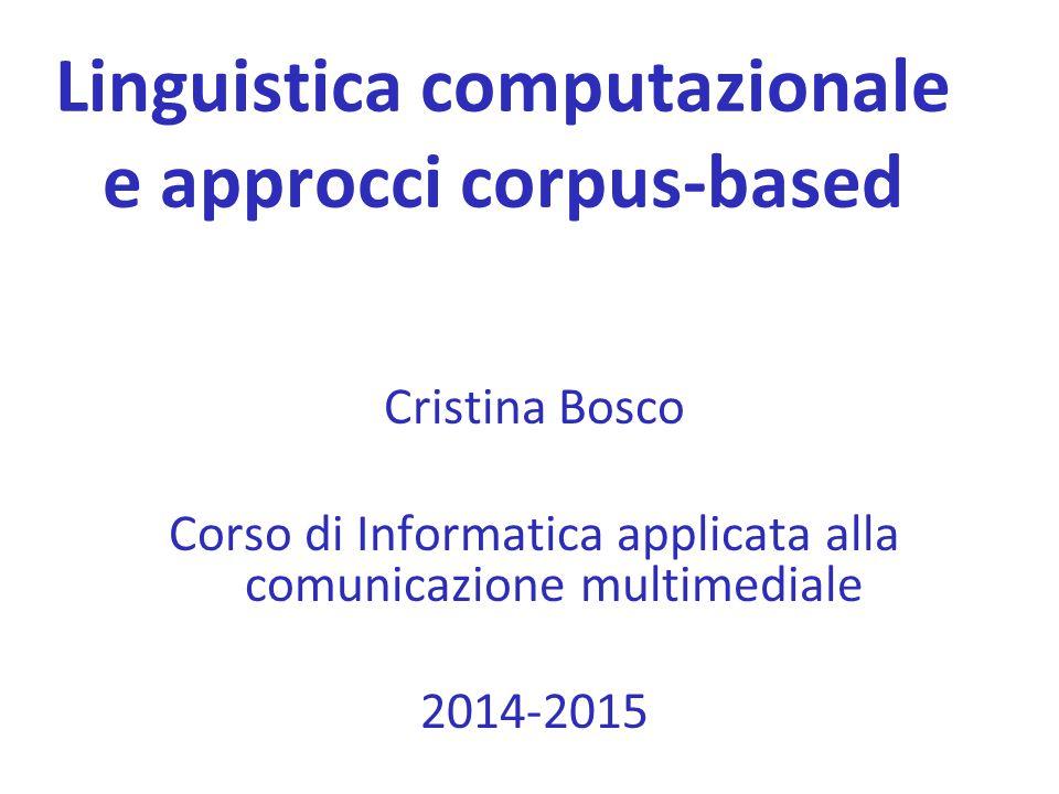 Linguistica computazionale e approcci corpus-based