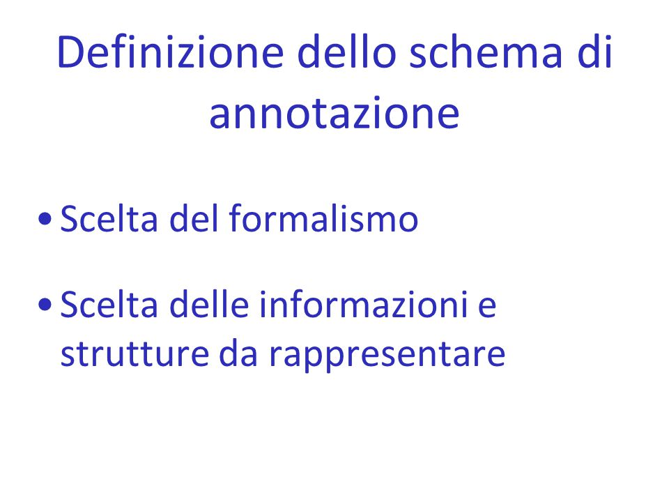 Definizione dello schema di annotazione