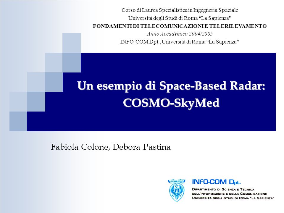 Un esempio di Space-Based Radar: