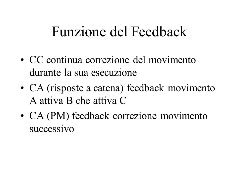 Funzione del Feedback CC continua correzione del movimento durante la sua esecuzione.