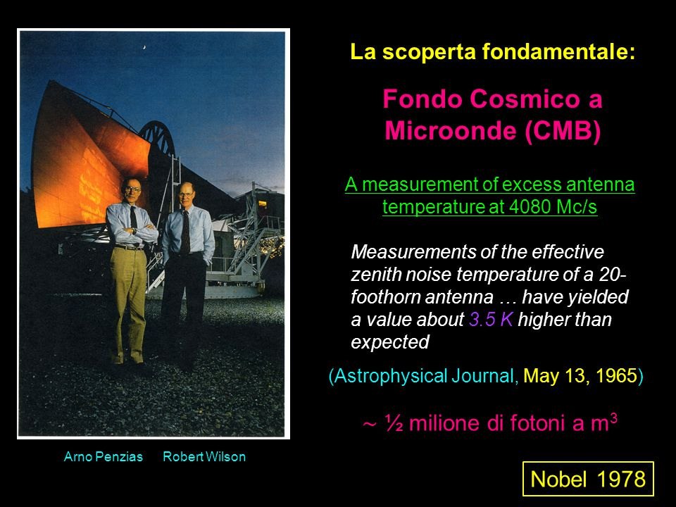 La scoperta fondamentale: Fondo Cosmico a Microonde (CMB)