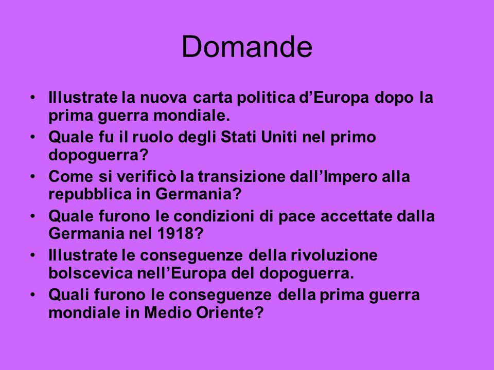 Domande Illustrate la nuova carta politica d'Europa dopo la prima guerra mondiale. Quale fu il ruolo degli Stati Uniti nel primo dopoguerra