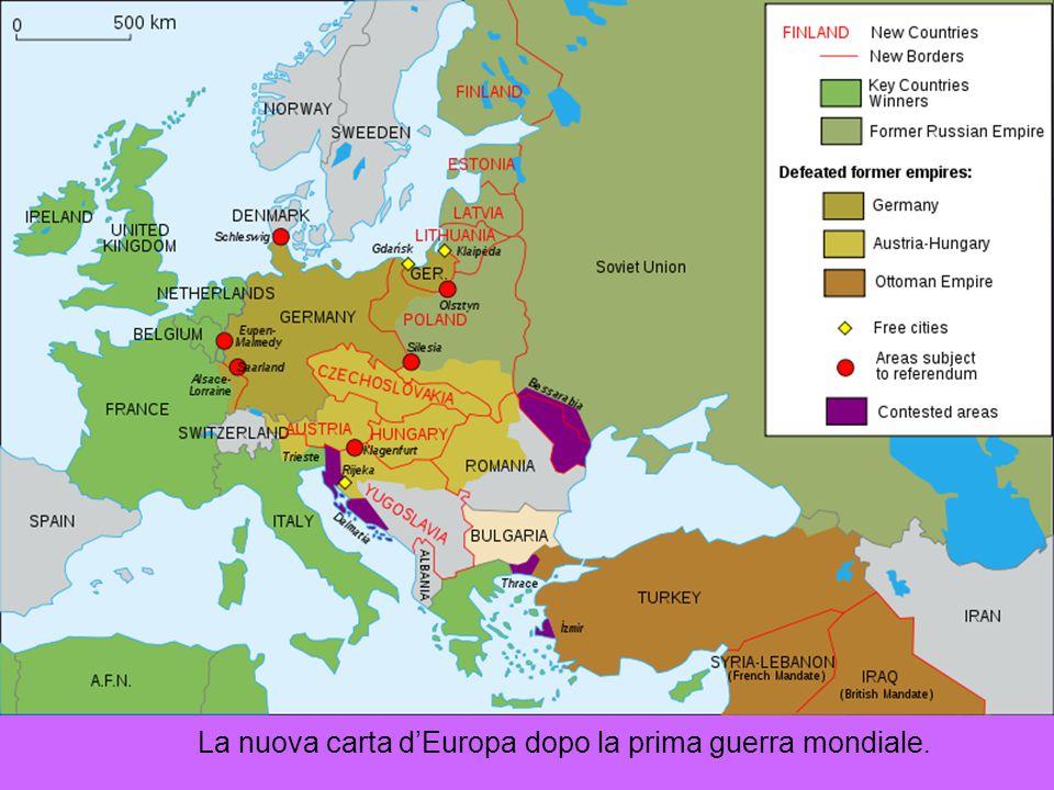 La nuova carta d'Europa dopo la prima guerra mondiale.