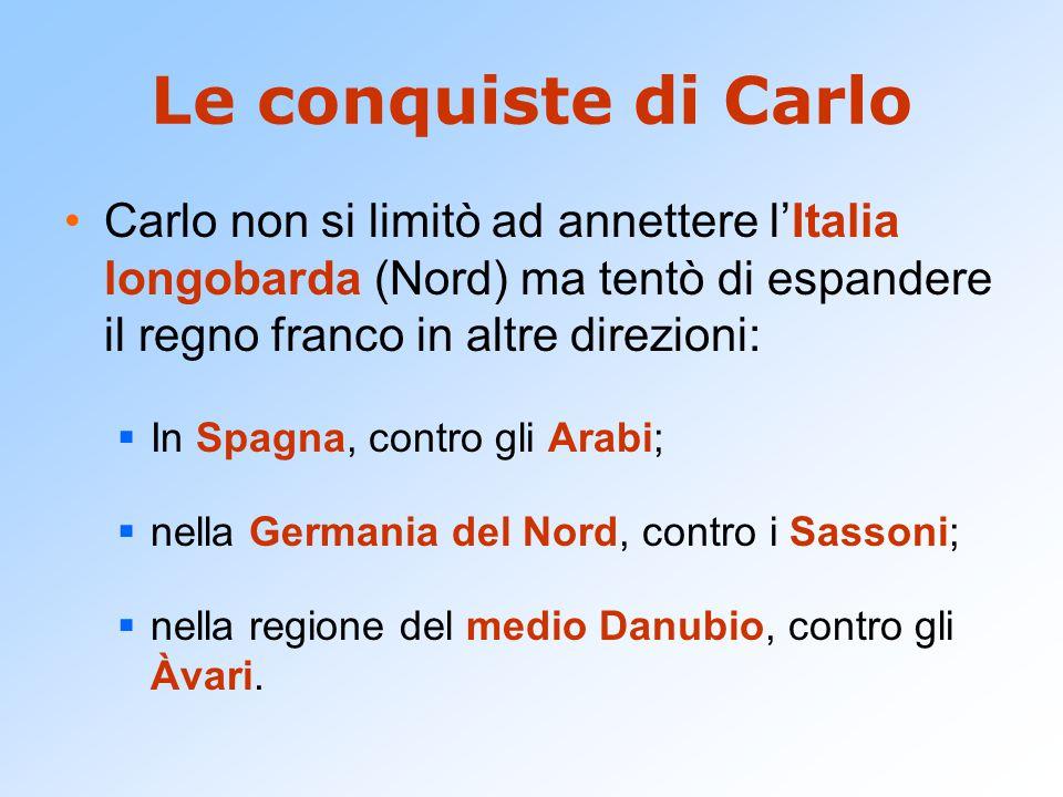 Le conquiste di Carlo Carlo non si limitò ad annettere l'Italia longobarda (Nord) ma tentò di espandere il regno franco in altre direzioni: