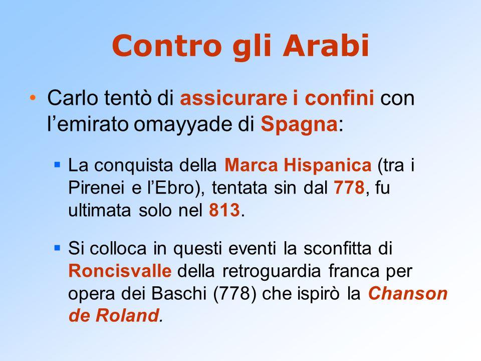 Contro gli Arabi Carlo tentò di assicurare i confini con l'emirato omayyade di Spagna: