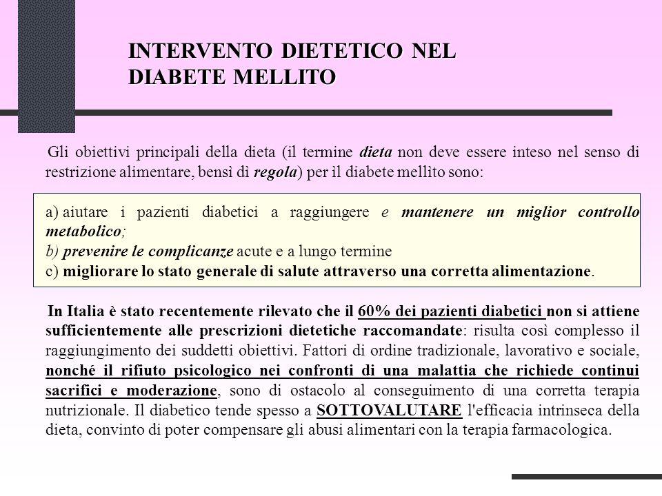 INTERVENTO DIETETICO NEL DIABETE MELLITO