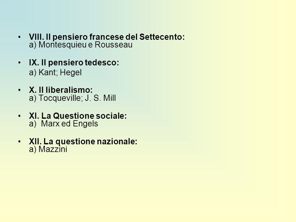 VIII. Il pensiero francese del Settecento: a) Montesquieu e Rousseau