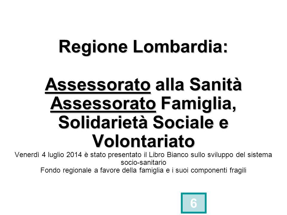 Regione Lombardia: Assessorato alla Sanità Assessorato Famiglia, Solidarietà Sociale e Volontariato Venerdì 4 luglio 2014 è stato presentato il Libro Bianco sullo sviluppo del sistema socio-sanitario Fondo regionale a favore della famiglia e i suoi componenti fragili