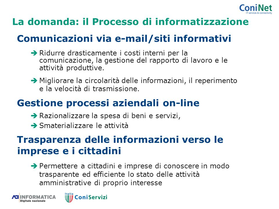 La domanda: il Processo di informatizzazione