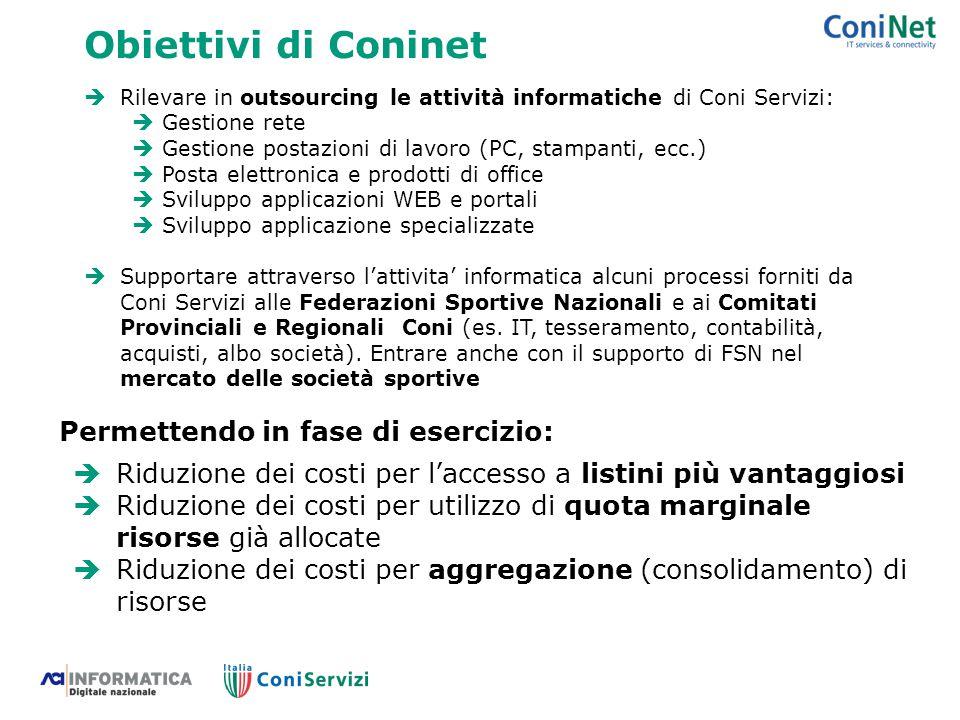 Obiettivi di Coninet Permettendo in fase di esercizio: