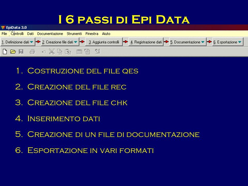 I 6 passi di Epi Data Costruzione del file qes Creazione del file rec