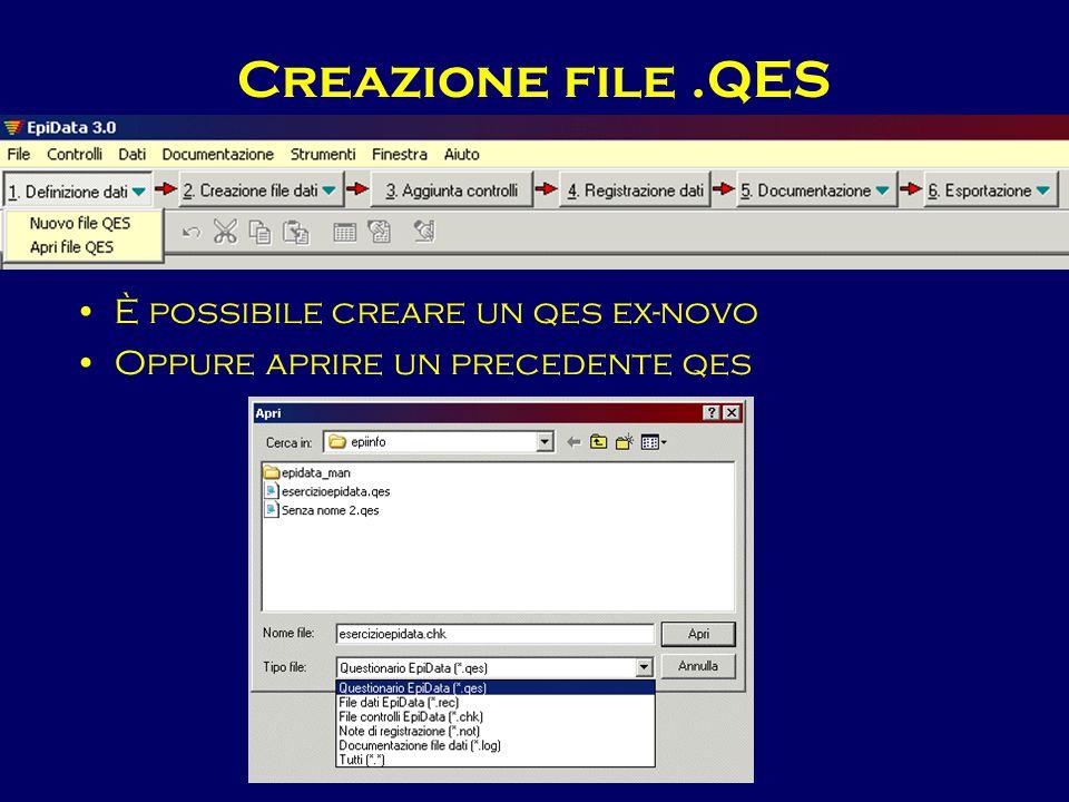 Creazione file .QES È possibile creare un qes ex-novo