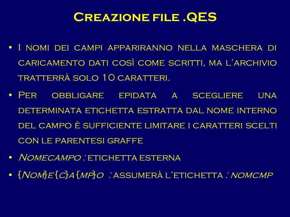 Creazione file .QES I nomi dei campi appariranno nella maschera di caricamento dati così come scritti, ma l'archivio tratterrà solo 10 caratteri.
