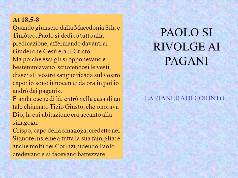 PAOLO SI RIVOLGE AI PAGANI