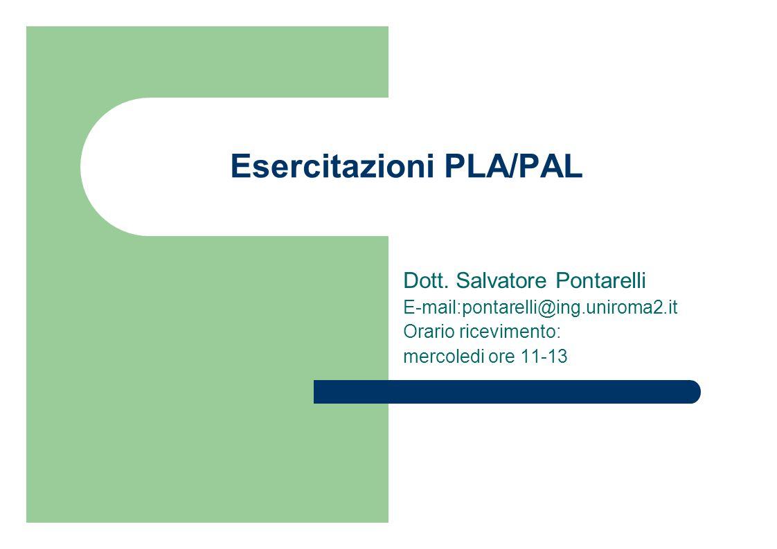 Esercitazioni PLA/PAL