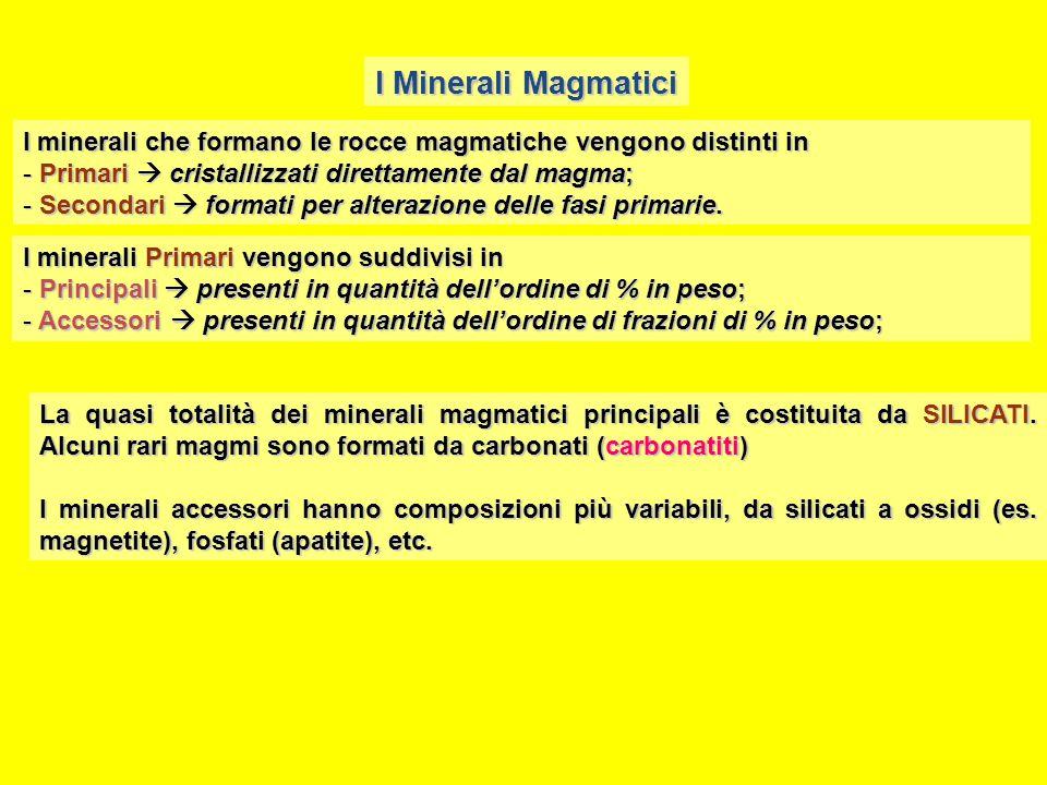 I Minerali Magmatici I minerali che formano le rocce magmatiche vengono distinti in. Primari  cristallizzati direttamente dal magma;
