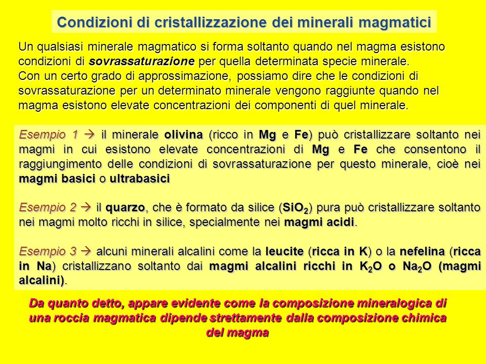 Condizioni di cristallizzazione dei minerali magmatici