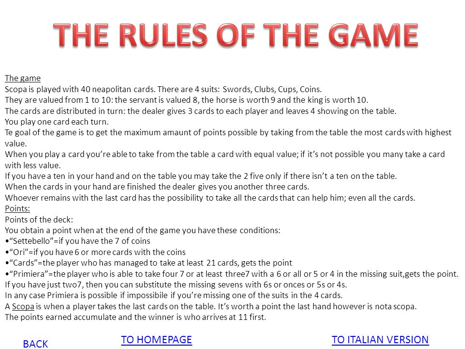 THE RULES OF THE GAME TO HOMEPAGE TO ITALIAN VERSION BACK The game