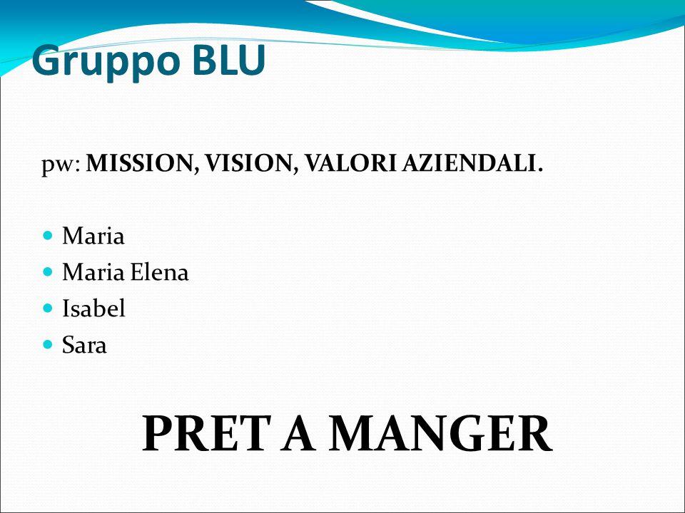 Gruppo BLU pw: MISSION, VISION, VALORI AZIENDALI. Maria Maria Elena