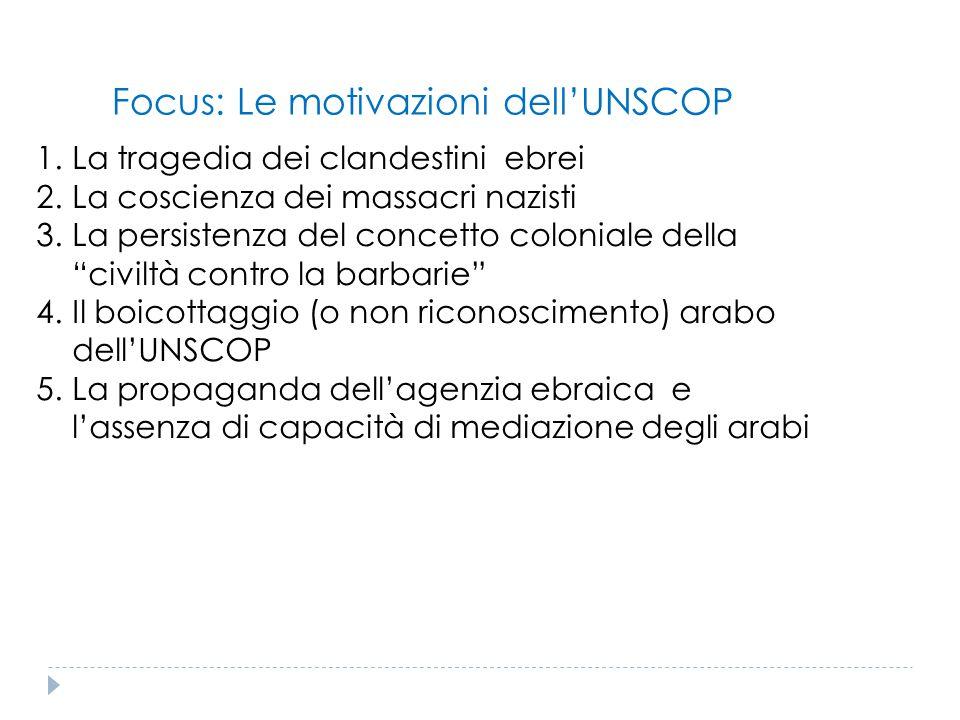 Focus: Le motivazioni dell'UNSCOP