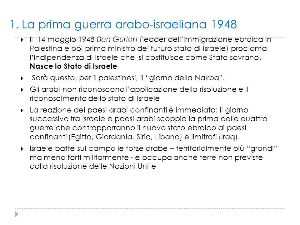 1. La prima guerra arabo-israeliana 1948