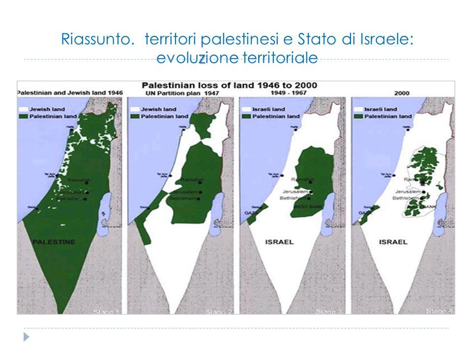 Riassunto. territori palestinesi e Stato di Israele: evoluzione territoriale