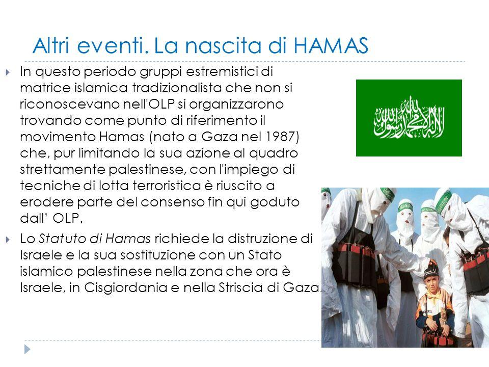 Altri eventi. La nascita di HAMAS