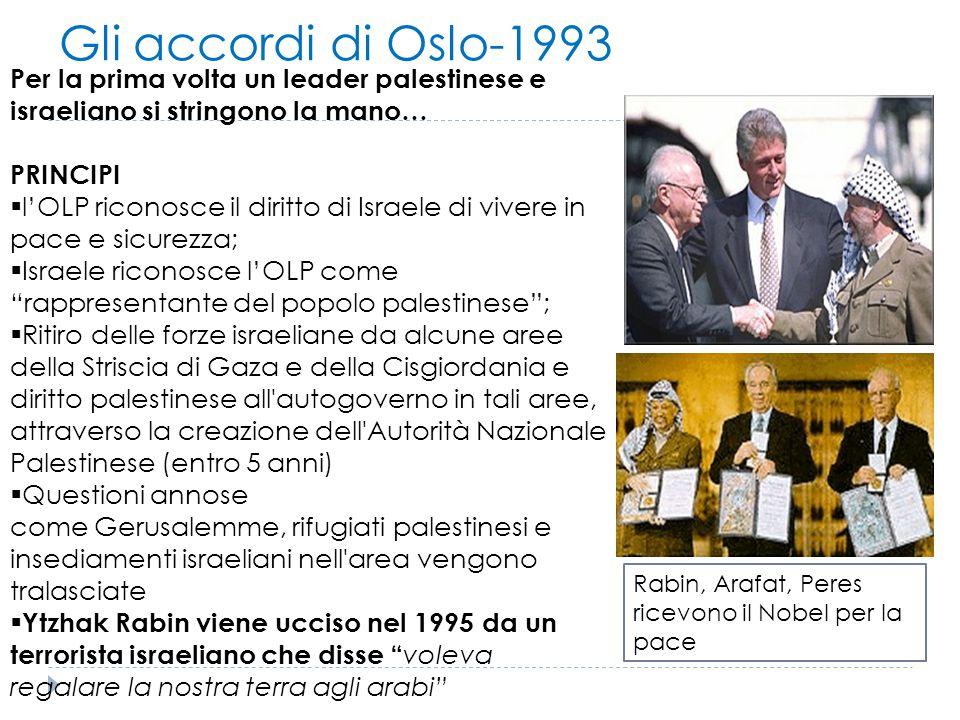 Gli accordi di Oslo-1993 Per la prima volta un leader palestinese e israeliano si stringono la mano…