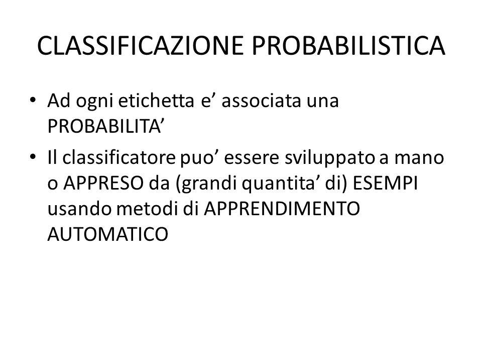CLASSIFICAZIONE PROBABILISTICA