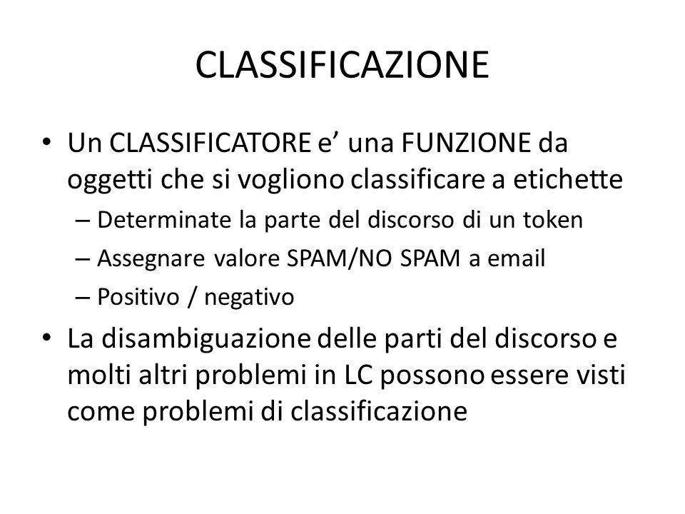 CLASSIFICAZIONE Un CLASSIFICATORE e' una FUNZIONE da oggetti che si vogliono classificare a etichette.