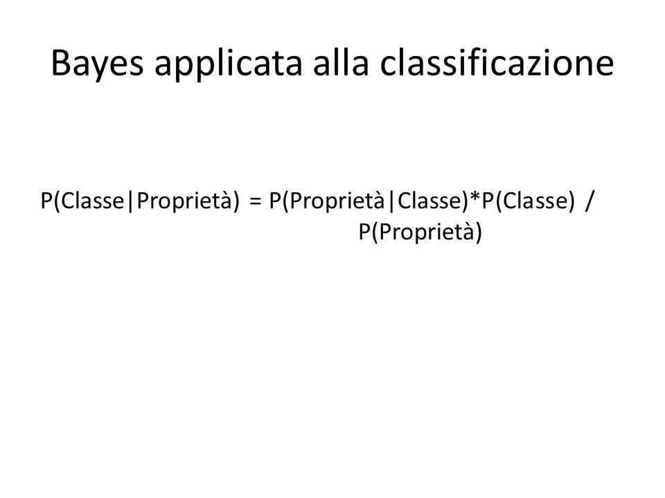 Bayes applicata alla classificazione