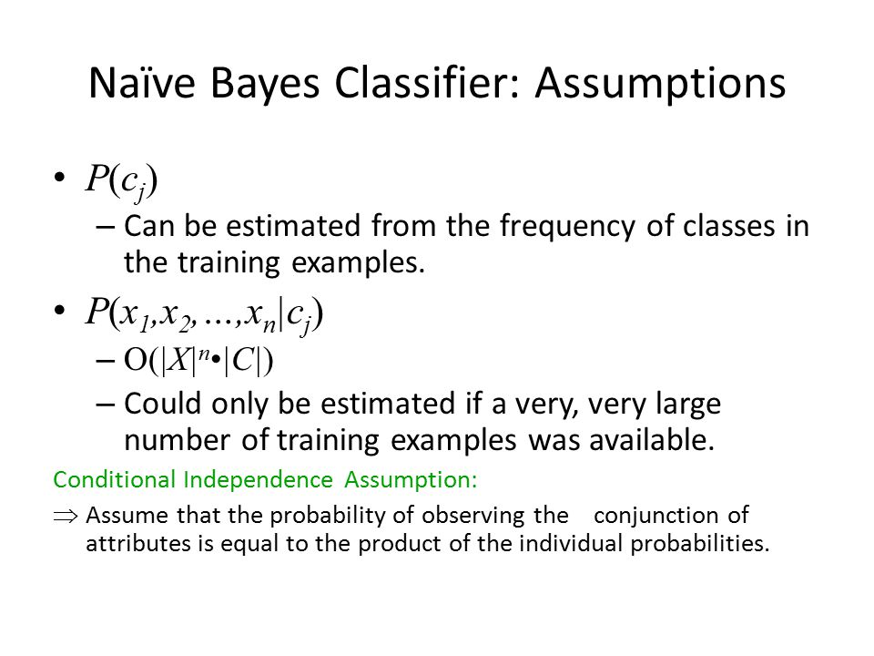 Naïve Bayes Classifier: Assumptions