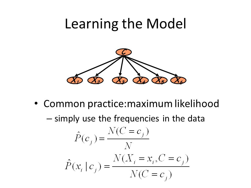 Learning the Model Common practice:maximum likelihood